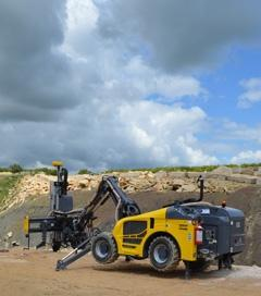 The new Atlas Copco Rock Buggy goes to work producing Ancaster limestone at Glebe Quarry.