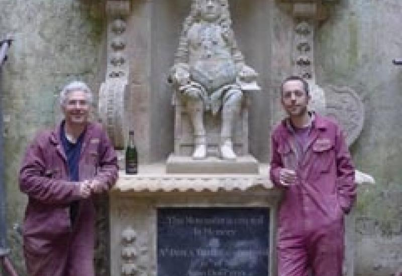 Cliveden conservators Brian Bentley (left) and Andy Hebden at the Mausoleum of Sir James Tillie. Built of Bath stone and Beer stone.