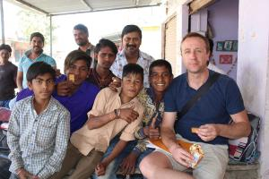 Steve Walley with children in Budhpura