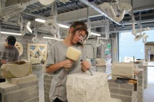 Stonemasonry students at work