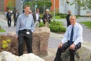 Steve Parry (left), a building stone expert at the BGS who oversaw the Geological Walk project, and Michael Heap, MD of stone paving specialists CED.