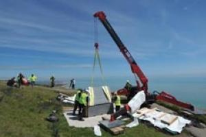 The memorial being position at Beachy Head. Picture courtesy of the Eastbourne Herald.