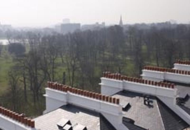 Cembrit's Glendyne natural slate on the roofs of The Lancasters, overlooking Hyde Park, where the lowest price apartment is £2million.