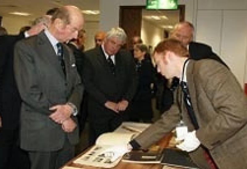 The Duke of Kent at the opening of the new museum of the War Graves Commission at its headquarters in Maidenhead.