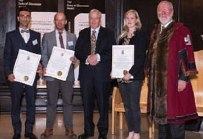 Pictured at the Awards ceremony are (left to right): Pourang Tajally, Chris Sampson, The Duke of Gloucester, Rosie Jones and Master William Gloyne.