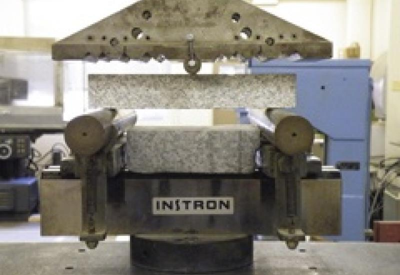 Testing the flexural strength of stone is part of the process of determining how thick panels should be.