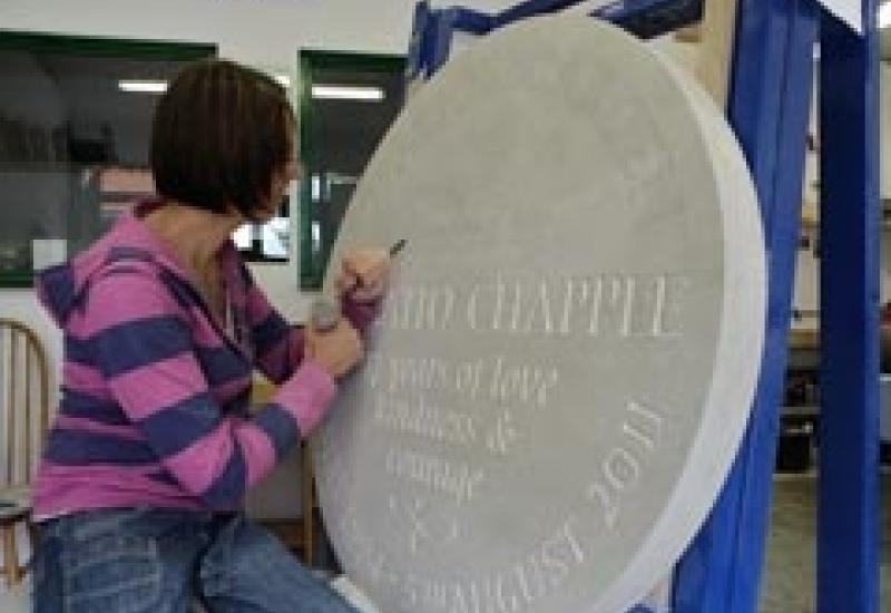 Robyn Golden-Hann working on the Chilmark memorial to polar bear victim Horatio Chapple.