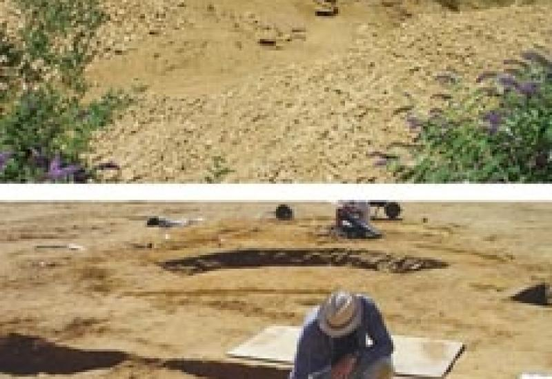 The Harvey quarry on Ham Hill and a skeleton found in the archaeological dig in what will now be the quarry extension.