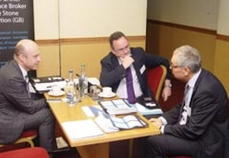 Ian Major (right) discussing training at the Stone Federation annual meeting in November.