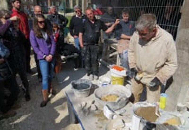Nigel Copsey demonstrates hot lime mixing during the Building Limes Forum event at York in May.