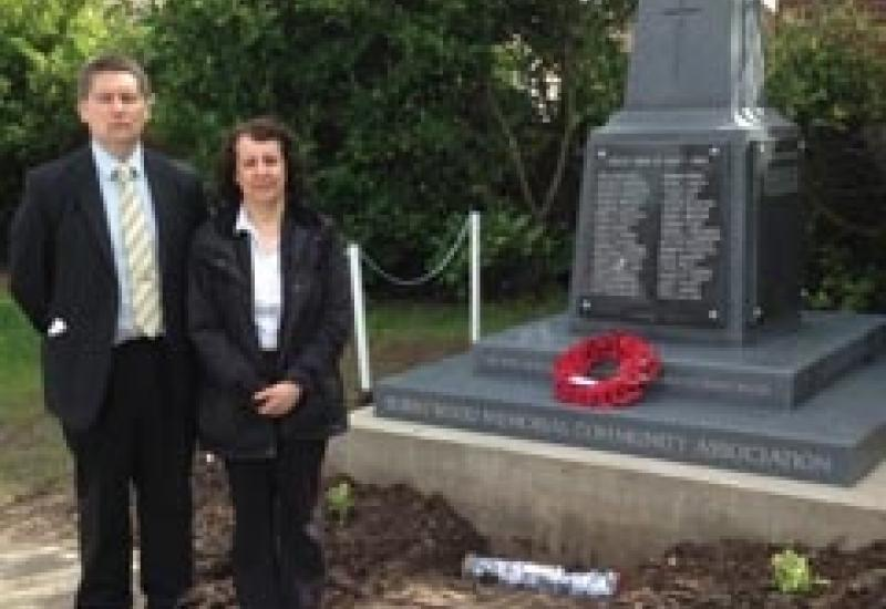Lee Hall and Anna Allan at the dedication of the new Burntwood war memorial.