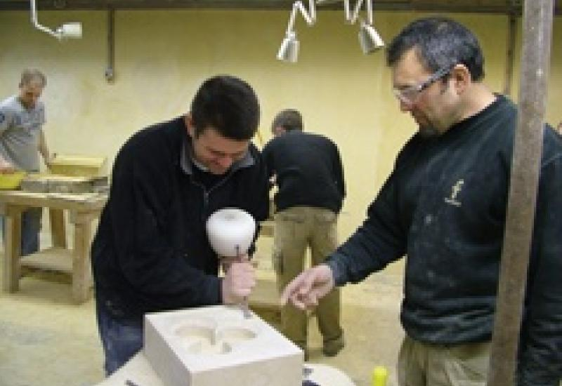 Brendan Teasdale teaching at the Orton Trust in Northamptonshire where he has taken over as the masonry tutor.