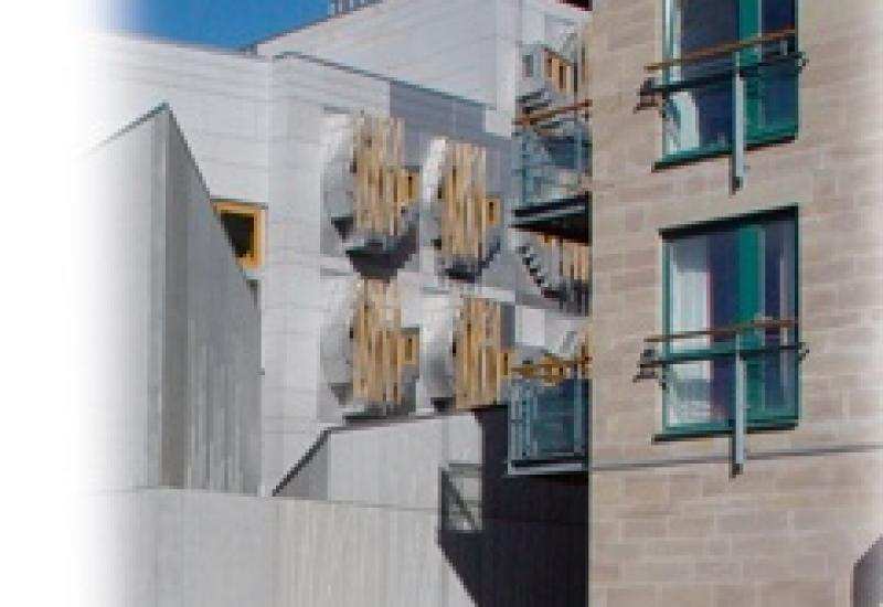 The parliamentary buildings of Scotland with their Scottish Kemnay granite cladding.