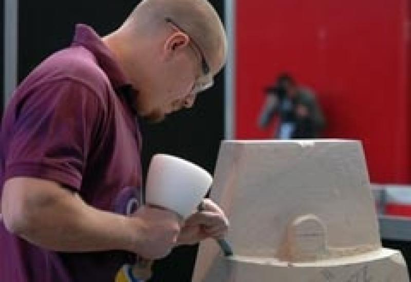 Competitor Joseph Nelson at work during SkillBuild.