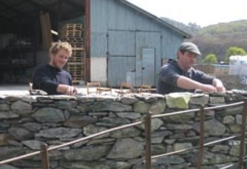 Two of this year's SPAB scholars at the Natural Building Centre in Conwy – Tom Massey (left) and Eoin Madigan (a stonemason from Ireland).
