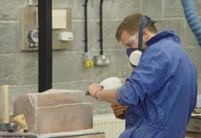 Stephen Lebourn from Bath College during the Southern heat of the UK Masonry Skills Challenge on 13 May.
