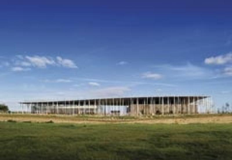 The new exhibition and visitor centre at Stonehenge, with its Chicksgrove limestone paving and sarsen stones.