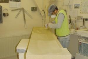 Hartham Park Bath stone being worked in B&P's Keynsham workshops.