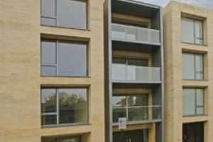Goldholm'e environmentally friendly Hooby Lane limestone used on the cladding of Montrose Place, London, pictured here.