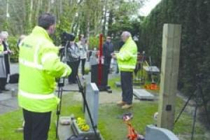 The memorial fixing system test video being made at Anton Matthews' premises in Bognor Regis.