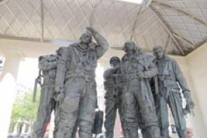 The Philip Jackson sculpture at the heart of the Portland limestone Bomber Command Memorial unveiled by The Queen on 28 June.
