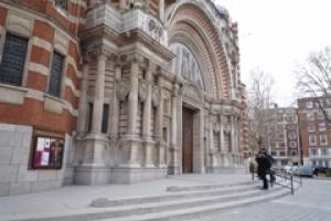 The new DeLank Cornish granite steps and ramps installed by CWO at Westminster Cathedral.
