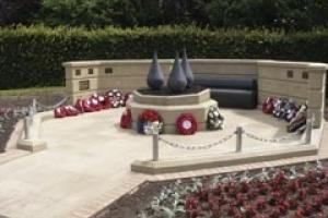 The Mansfield Heroes memorial in Bretton Moor sandstone and Angola Black granite.