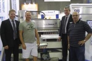 Pictured in Verona are (left to right) Robert Jacobsson, Peter Duncan of London firm Imperial Marble & Granite, Glenn Groom and Giovanni Basili.