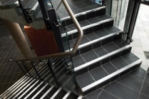 Welsh//Slate floors and steps in the new library in Cardiff.