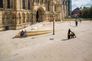 The new access to York Minster in magnesian limestone with surrounding Moseldon sandstone paving.