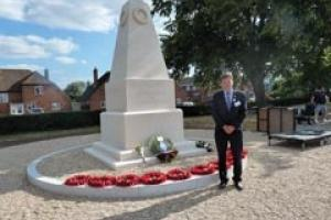 Award-winning mason Chris Berridge with the new War Memorial at Woodley.