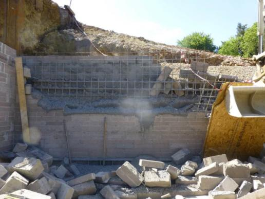 The collapsed wall