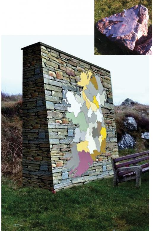 Irish map in stone