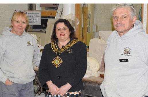 Mayor of Halifax Dot Foster with one of the club founders, John Swift, and his sister Helen Jukes