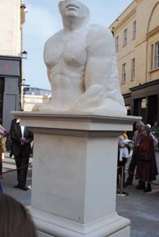 City of Bath stonemasonry students made the Bath stone plinth for the statue of Mark Foster.