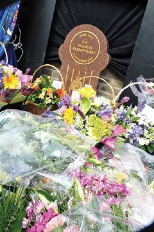 The memorial to PC Sharon Beshenivsky erected in Bradford, where she was gunned down.
