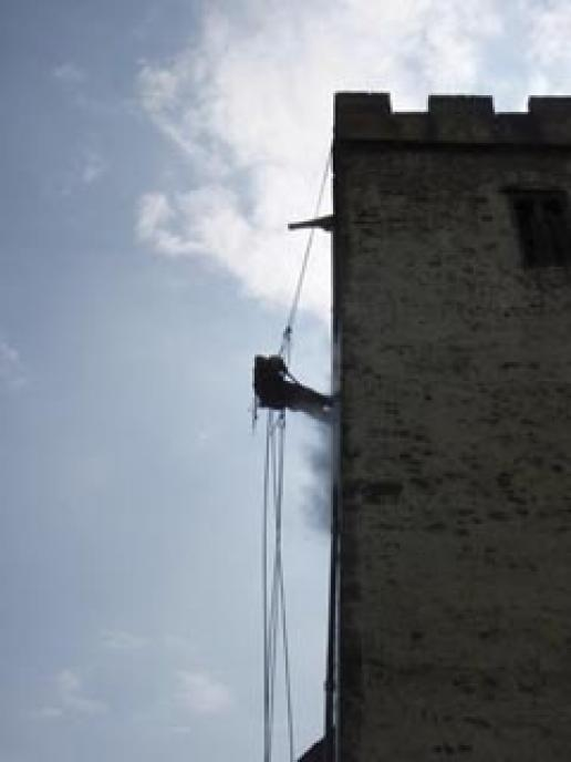 Using super-heated water cleaning on a rope.