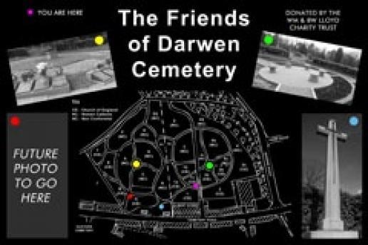 One of the black granite maps made by Brent Stevenson Memorials.