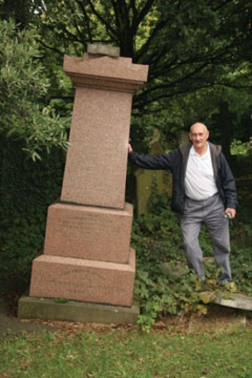 David Francis: Me in Camden Cemetery with a leaning headstone.