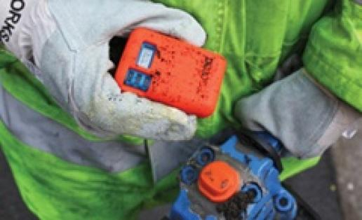The HAVmeter is magnetically attached to tools using a tool tag.