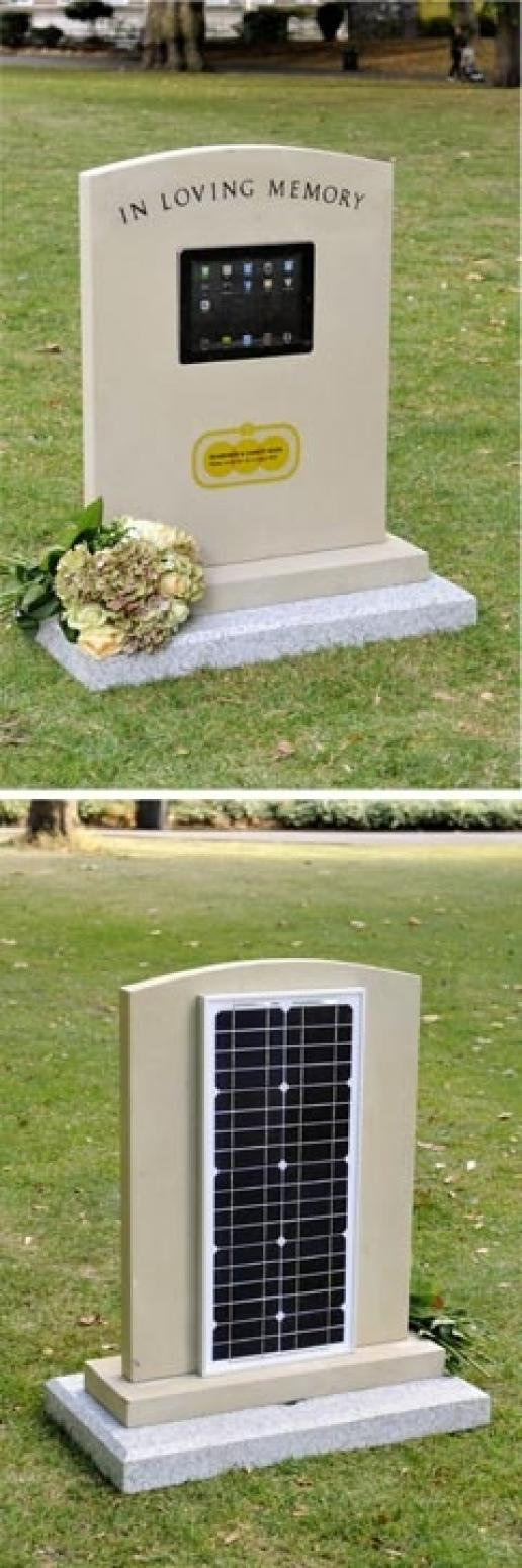 Ken Howe's iTombe stone has an iPad in front and a solar panel on the reverse to power it.