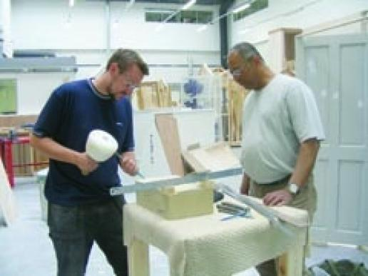 John Roberts (left) is training at West Cheshire College with tutor Altomont Townsend thanks to Heritage Lottery Fund's 'Skills for the Future'.