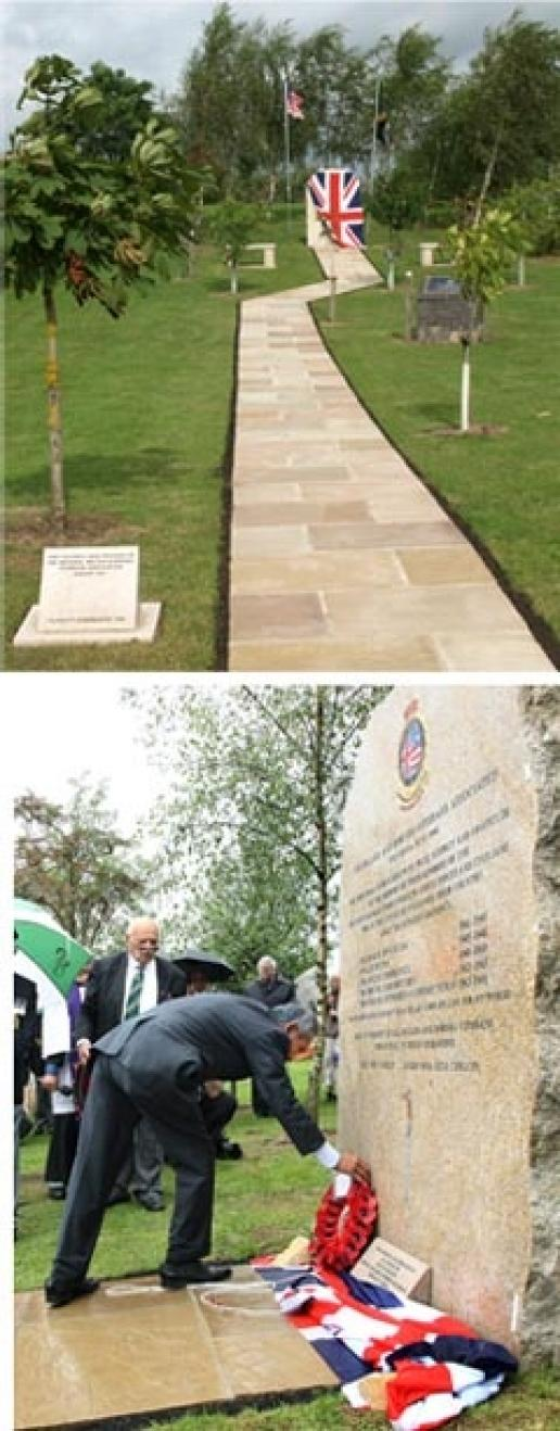 The NMBVA memorial and pathway made by HL Perfitt before being unveiled and afterwards as wreaths are laid.