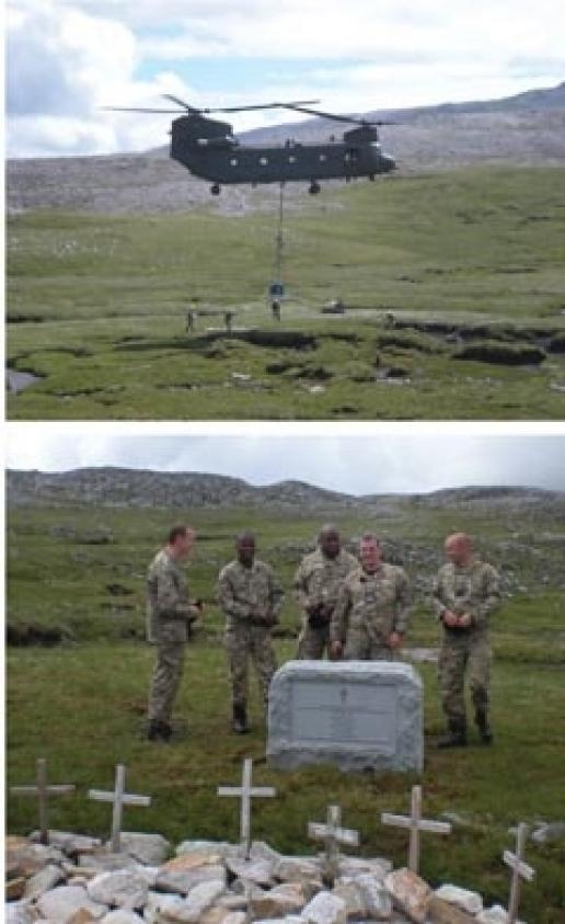 The memorial to the WWII air crew being installed in the Scottish Highlands.