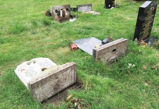 fallen headstones