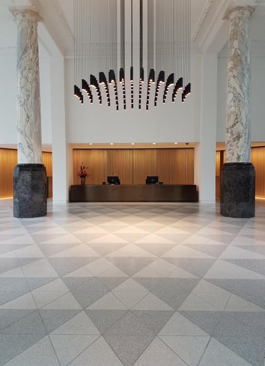 Terrazzo And Calacatta Make A Powerful Statement In The City Stone - How to make terrazzo floor