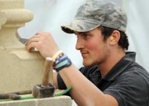 Stonemasonry student Tom Whitehead, winner of Stone Federation's UK Masonry Skills competition.