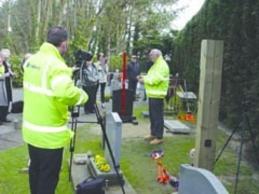 The memorial fixing system test video being made at Anton Matthews' premises in Bognor Regis.