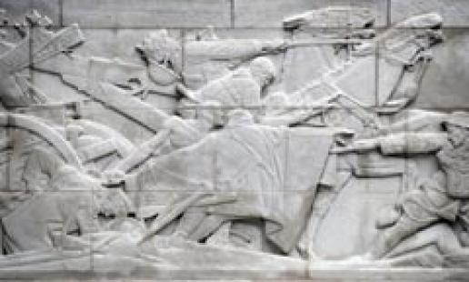A Portland limestone panel in the Royal Artillery Memorial after cleaning by DBR.