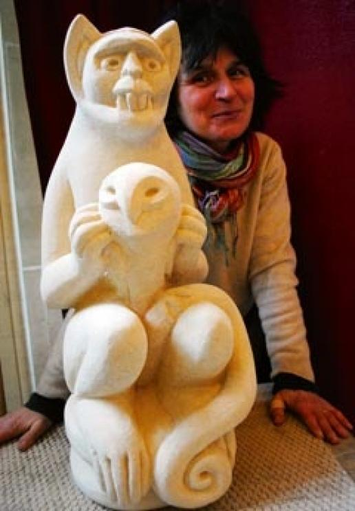 Jitka Palmer with a Gothic-inspired carving she produced during a 10-week project at Woodchester Mansion.
